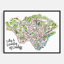 Load image into Gallery viewer, Cardiff Map Print