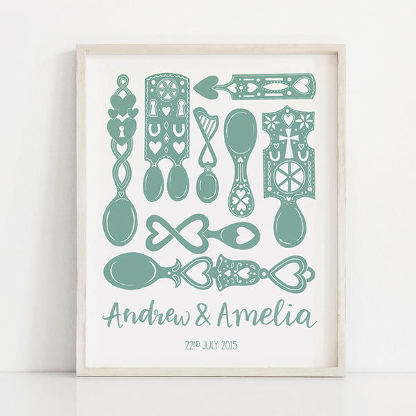 Personalised Welsh Love Spoons Wedding and Anniversary Print