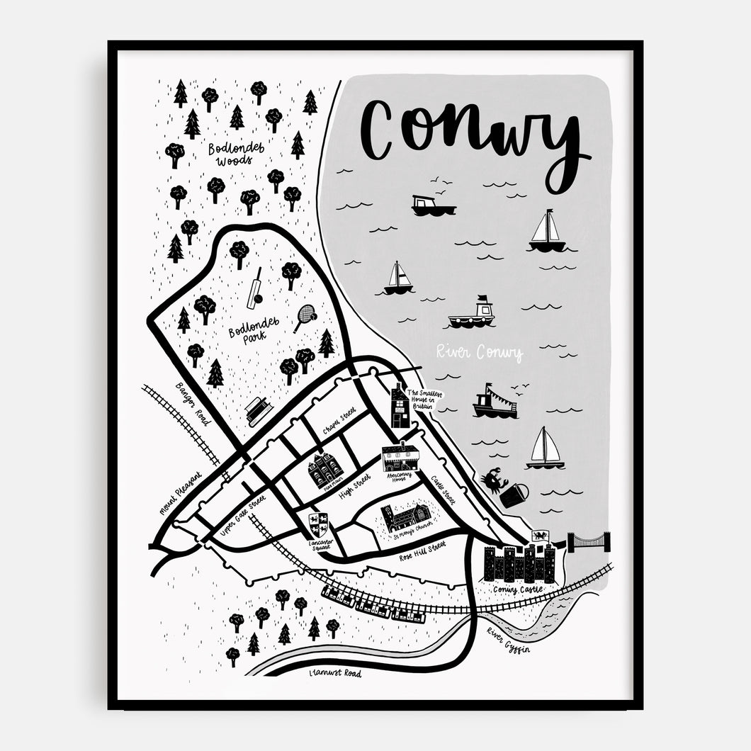 English Conwy Map Print