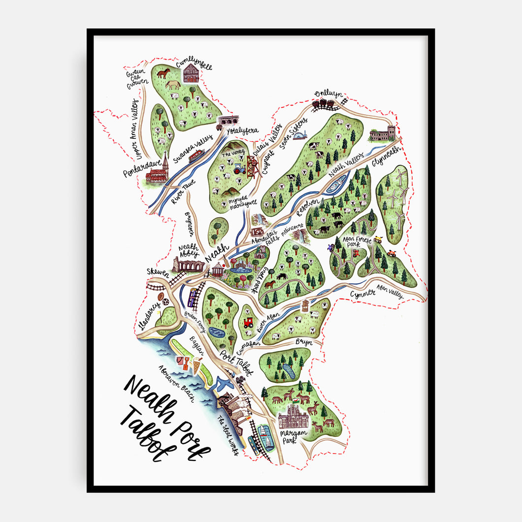 Neath Port Talbot Map Print
