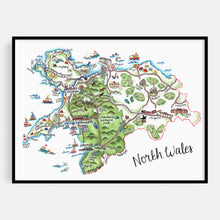 Load image into Gallery viewer, North Wales Map Print