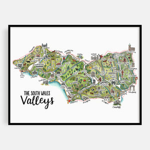 South Wales Valleys Map Print