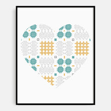 Load image into Gallery viewer, Welsh Blanket Heart Print