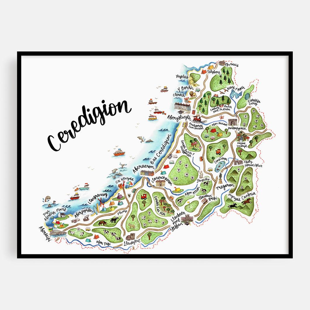 Welsh Ceredigion Map Print