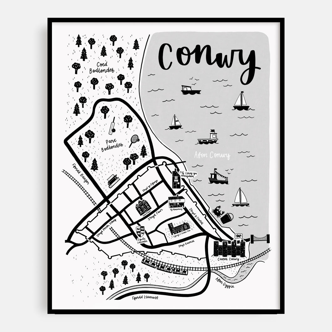 Welsh Conwy Map Print