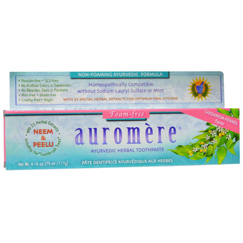 Ayurvedic Herbal Toothpaste | Foam Free | Cardamom-Fennel | 117gm