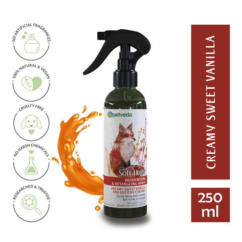 Odor Control and Detangling Hair Spray | Sweet Vanilla & Buttery Caramel | Alcohol Free | for Dogs & Cats | SLES & Paraben Free | 250ml