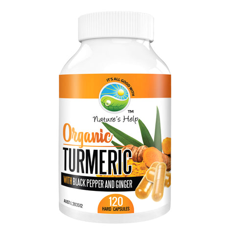 Nature's Help | Organic Turmeric Capsules with Black Pepper and Ginger | 120 Capsules