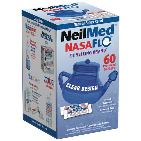 NeilMed NasaFlo Unbreakable Neti Pot | 60 Premixed Packets