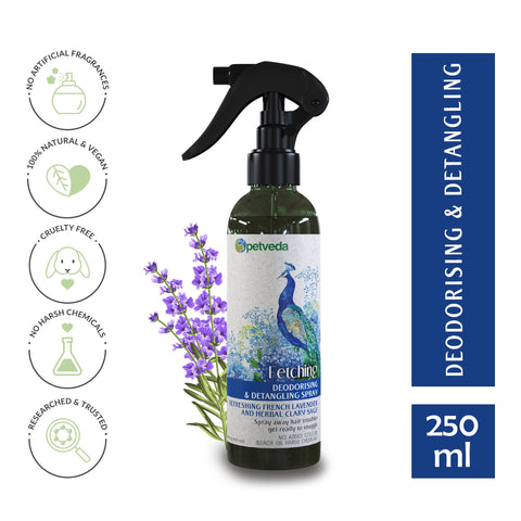 Fetching | Deodorant Spray | French Lavender | Natural Dog Cologne & Detangle Spray | Controls Odor | Daily Use | Alcohol Free | Sulphate & Paraben Free | Ayurvedic Formula | 250ml