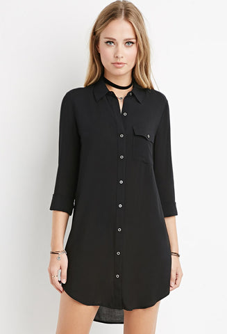 Curved-Hem Shirt Dress