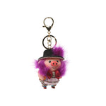 Mink Fur Charm Pig with Rhinestone