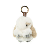 Mink Fur Charm Rabbit with Rhinestone