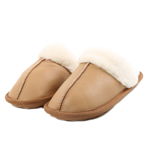 Real Chenille and Sheepskin Slipper Anti-Skid Sole