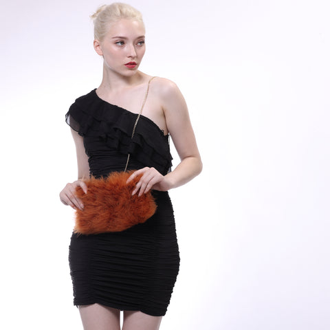 Ostrich Feather Fur Crossbody Evening Tote Bag