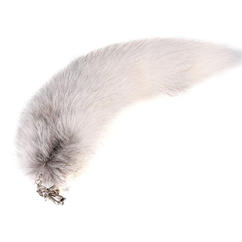URSFUR Huge Fluffy White Gray Fox Tail Fur Cosplay Toy Alopex Lagopus Ring Hook