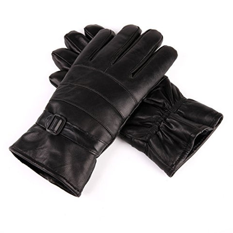 URSFUR Men's Lambskin Leather Driving Gloves with Buckle
