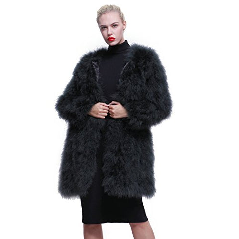 URSFUR Women Winter Jacket Real Ostrich Feather Fur Coat Multicolor