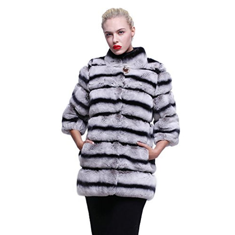 URSFUR Women's Winter Jacket Real Rex Rabbit Fur Car Coat