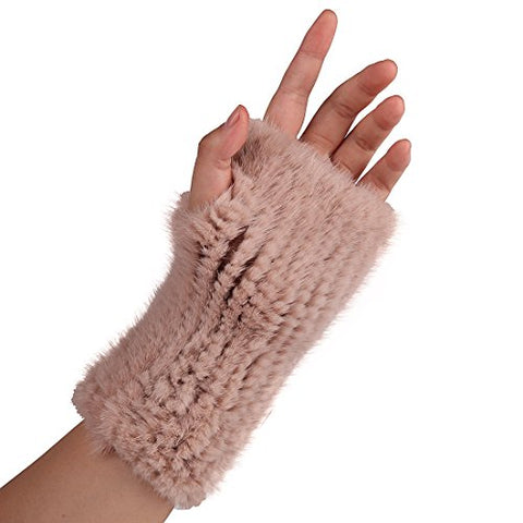 URSFUR Women's Crochet Knit Mink Fur Long Gingerless Gloves with Thumb Hole