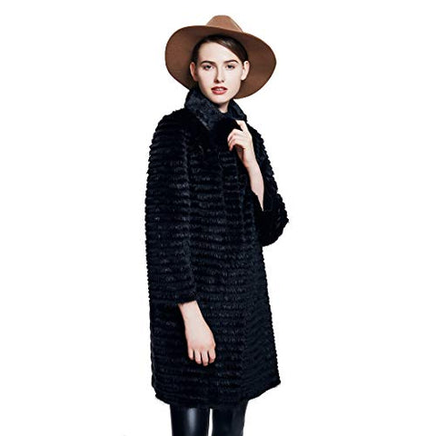 URSFUR Women Winter Fur Jacket Real Mink Rex Rabbit Fur Outwear Coats Black