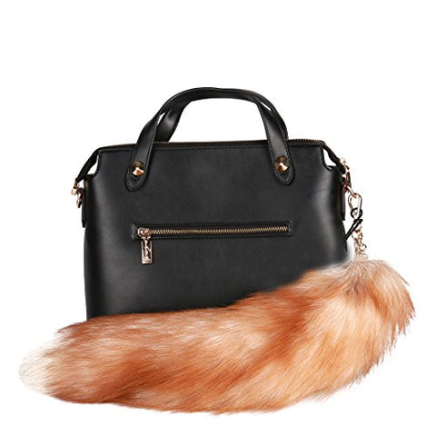 URSFUR Finland Crystal Fox Tail Fur Key Chain Bag Charm Pendant Hook Keychain