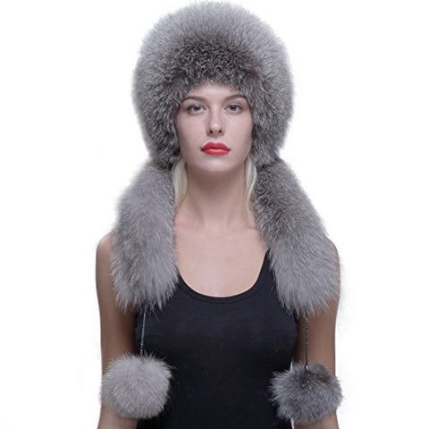 URSFUR Real Fox Fur Roller Hat with Rabbit Top Fox Ear Flap Pom Pom Multicolor