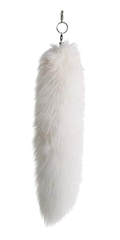 URSFUR Arctic Fox Tail Fur Key Chain Car Bag Charm Pendant Ring White 14 inches