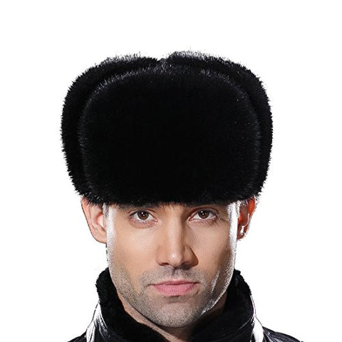 URSFUR Russian Fur Ushanka Hat Mens Winter Real Min Fur Trapper Cap