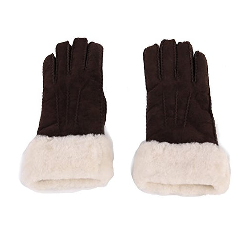 URSFUR Unisex Long Cuff Sheepskin Gloves with Wool Fur Lining