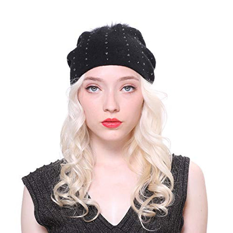 URSFUR Women Winter Beanie Hat Warm Wool Knit Slouchy Cap with Fur Pompom