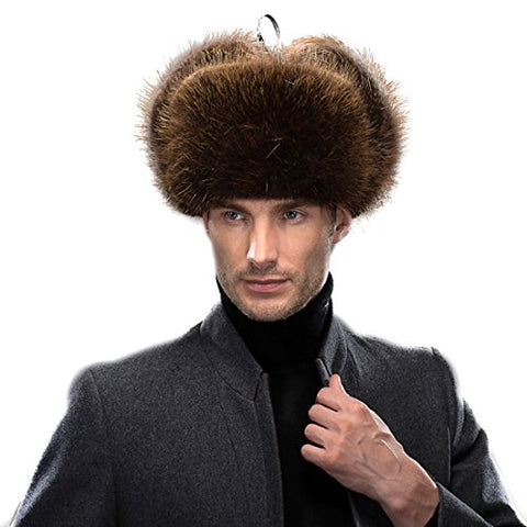 URSFUR Men's Beaver Russian Trooper Hat Winter Fur Cap
