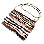 URSFUR Women Evening Handbag Authentic Mink & Rabbit Fur Clutch Shoulder Bag Purse