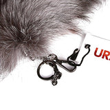 URSFUR Fluffy Silver Blue Fox Tail Fur Handbag Accessories Key Chain Ring Hook