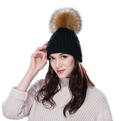 URSFUR Women's Knit Beanie with Raccoon Fur Pom Pom Ribbed Mutiple Color