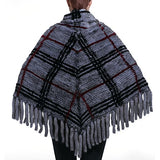 URSFUR Mink Fur Knit Stunning Cape Shawl with Fringe