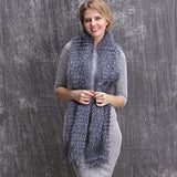 Women's Winter Fur Fox Long Warp Scarf,Tri-color Stitching Fur Scarf for Dress/Coat