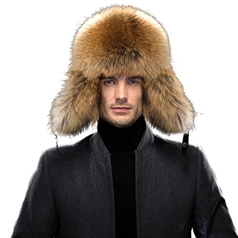 URSFUR Men's Leather & Fox Fur Trapper Hat Russian Ushanka Caps