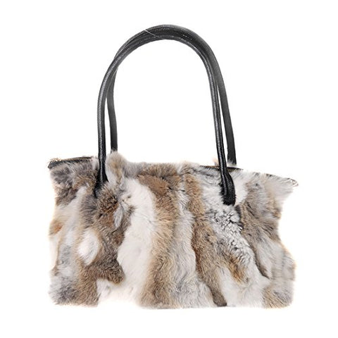 URSFUR Winter Shoulder Bag Women Real Rabbit Fur Handbag Wristlet Clutch Purse