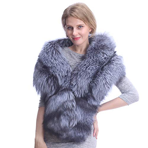 Women's Fox Fur Scarf with Gloves,Neck Warm Wraps Collar Stole