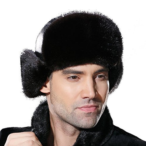 URSFUR Winter Leather Men Fur Hat Real Mink Fur Russian Trapper Hats