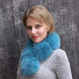 Real Fur Collar Scarf for Women, Pull Through Fox Fur Scarf Shrug for Coat/Dress