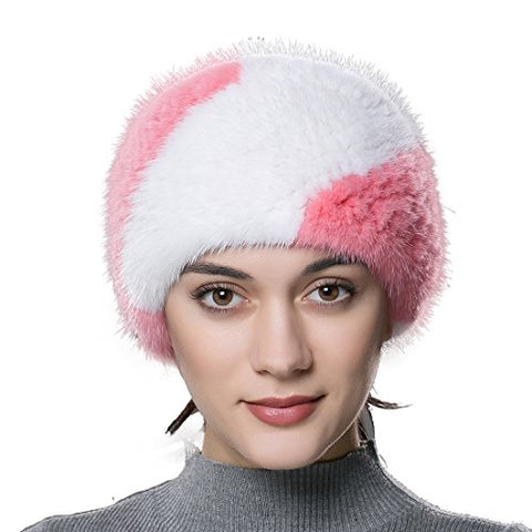 URSFUR Women's Winter Headwraps Real Knitted Mink Scarf Fur Headband Multicolor