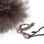 URSFUR Huge Fluffy Silver Fox Tail Cosplay Toy Fur Handbag Accessories Key Chain