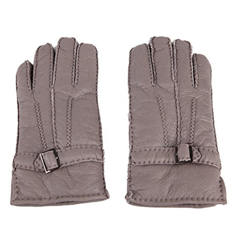 URSFUR Men's Winter Sheepskin Leather Gloves with Metal Buckle