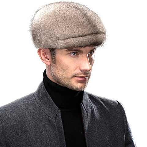 URSFUR Men's Mink Fur Peaked Cap Winter Visor Hat