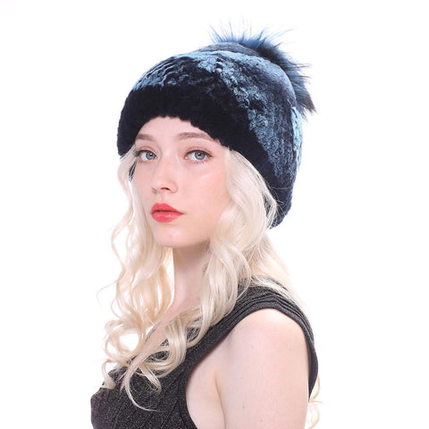 Real Rabbit Knit Bobble Cap with Fox Pompom