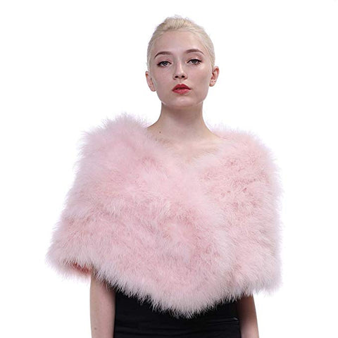 Winter Ostrich Feather Fur Wedding Shawl