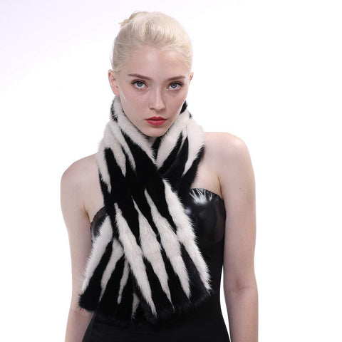 Mink Fur Striped Scarf with Magnetic Buckle