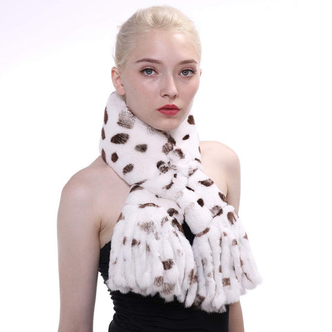 Real Rex Rabbit Fur Tassel Scarf